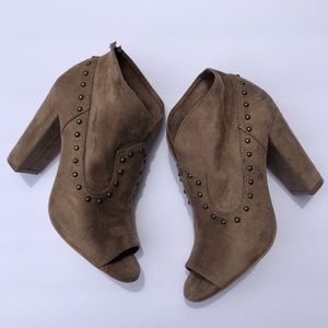 Cato Taupe Booties with Stud Detailing size 6